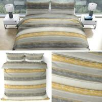 Ochre Duvet Covers Yellow Grey Distressed Stripe Quilt Cover Bedding Sets