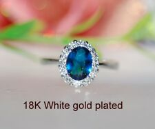 2ct @look oval sapphire claster ring size L ;6