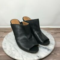 Corso Como Anthropologie Central Black Leather Peep Toe Wedge Mules Womens Sz 7