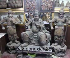 """66"""" China Wood Painted War God Guan Gong Guan Yu And Zhou Cang Guan Ping Statue"""