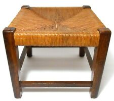 EARLY 20TH C AMERICAN ARTS & CRAFTS VINT ROLLED HEMP CORD SEAT/WOODEN FOOTSTOOL