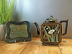 SUPERB AESTHETIC MOVEMENT JACKFIELD BURGESS & LEIGH DAISY SQUARE KETTLE TEAPOT