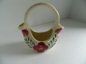 Vintage Purinton Pottery Slip Ware Vase with handle Painted red flowers