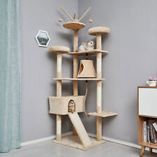 210cm Cat Tree Tower Scratching Post Kitten Activity Centre Scratcher Beige