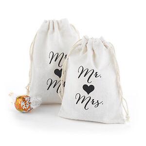 25 Mr. and Mrs. Design Large Cotton Favor Bags Wedding Favor Bags