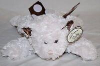 Bearington Baby TEDDY BEAR RATTLE Pink Polka Dot Brown Satin Plush Stuffed Toy