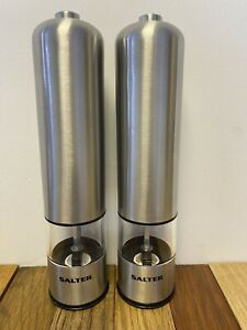 Salter 7722 SSTUR Electric Salt and Pepper Mill Grinder Set - Stainless Steel