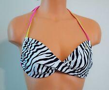 NWT Guess Zebra Bikini Swimsuit Bandeau Top Black White Animal Print M L $49