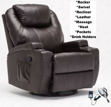 Brown Leather Heat Massage Rocker Armchair Recliner Chair Arm Chairs Recliners