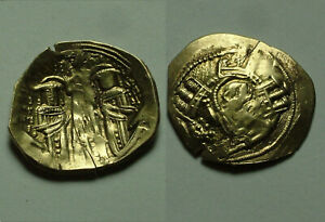 Rare genuine BYZANTINE Gold coin Andronicus II & Michael IX, Christ 1282 AD Mary