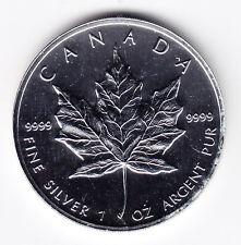 1996 Canada Silver Maple Leaf .9999 Fine Silver 1oz Coin in capsule