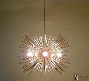 """Modern Brass Large Sputnik Chandelier - 5 Bulbs Urchin Chandelier - 30"""" Diameter"""