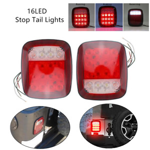 16LED 12V Stop Tail Lights Rear Brake Lamps Turn Stop Reverse For Truck Trailers