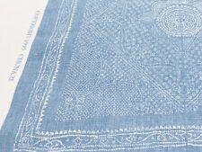 Raoul Textiles Blue Handprinted Linen Fabric- Chunari / Delft 1.30 yd