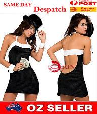 Women Black Stripes Open Back Sexy Mini Dress Lingerie T-back Dance Size 6-8