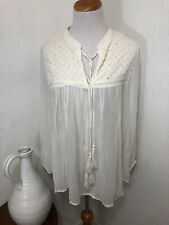 Lucky Brand Women's Sz M Top Boho Sheer Ivory Embroidered Beaded Long Sleeve