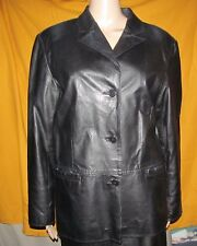 CLIO Simple classic Black leather Front Button coat with pockets Women's S Small