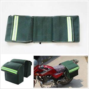2 Pcs Multifunctional Canvas Green Motorcycle Bikes Luggage Pannier Saddle Bags