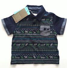 Monsoon Boys Blue Green Animal Stripe Print Polo Shirt Top 6-18m 3-6 Months