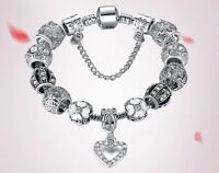 925 Sterling Silver Bead Austrian Crystal Heart Charm Bracelet Women Jewelry