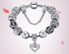 925 Silver Plated Heart Charm Bead Austrian Crystals Bracelet Bangle 18 cm Gift