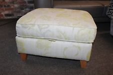 NEXT CREAM & LIME GREEN FLORAL STORAGE FOOTSTOOL (099)