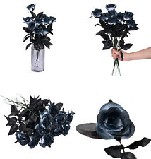 10 Pcs Artificial Flowers Black Roses Bouquets Real Looking Party Festival Decor