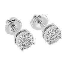 Round Face Cluster Set Earrings Simulated Diamonds Screw Back Rhodium Tone