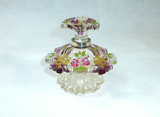 Glas Flakon Karaffe Friedrich Egermann Haida um 1835 Blumenmalerei Silber