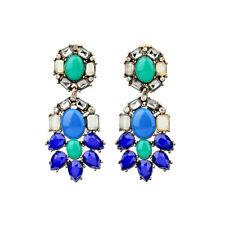 Boucles d`Oreilles Bleu Marine Vert Ancien Style Soirée Mariage Cadeau AA 2