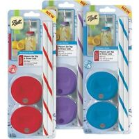 "1 Pack x 4 sets Ball Wide Mouth Mason Jar Sip and Straw Lids ""U Pick Colors"