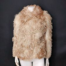 VTG 70s BLUSH BLOND Curly Mongolian Lamb SHEARLING FUR Cropped Poodle Bomber XS