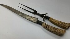 VINTAGE CARVING SET Knife and Fork antler handles              (#p6)