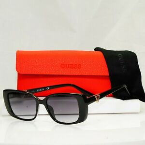 Authentic GUESS Womens Sunglasses Glossy Black Gold Triangle Logo GU 7631 01B