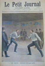 ESCRIME ÉPÉE COMBAT DUEL HENRI PICQUART  GRAVURE PETIT JOURNAL 1898
