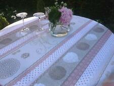 Tischdecke Provence 160 cm rund rosa beige Monogramme aus Frankreich, bügelfrei