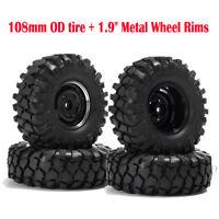 1/10 RC Crawler 108mm OD Tires & 1.9'' Metal Wheel Rims For Axial SCX10 D90 CC01