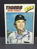 Mickey Stanley Signed 1977 Topps Card Auto Detroit Tigers Autograph