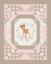 Disney Bambi Quilt Top Pink and Tan Large Cotton Fabric Panel
