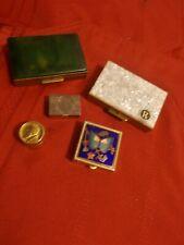 5 Vintage Pill Boxes Gold enamal, Peru 925 Silver Cloissone
