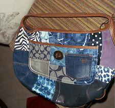 Coach Indigo Denim Blue Patchwork Ergo XL Hobo Handbag Purse Bag