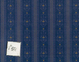 Brodnax Prints Rosewood Blue 1VT354 Arts & Crafts wallpaper dollhouse 1/12 scale