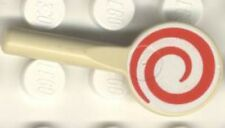 Lego 4756 - Minifig, Utensil Signal Paddle with Red & White Spiral Pattern - Tan