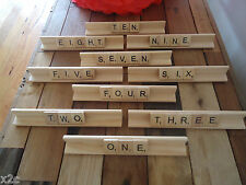 SET OF 10 WOODEN SCRABBLE TILE RACK HOLDERS LETTERS WEDDING TABLE NUMBERS UNIQUE