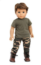 ARMY PANTS + MILITARY SHIRT + BOOTS Clothes for 18 inch American Boy logan Doll