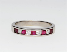 PRE-OWNED 18CT WHITE GOLD RUBY & DIAMOND ETERNITY RING - 2008