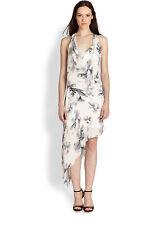 NEW  Haute Hippie Women's White Asymmetrical Printed Silk Sz Dress $475