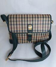 DAKS Genuine Leather Plaid Crossbody Bag
