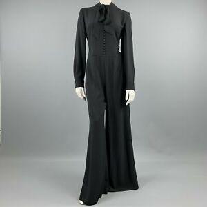 RALPH LAUREN Size 8 Black Viscose / Acetate Long Sleeve Wide Leg Jumpsuit
