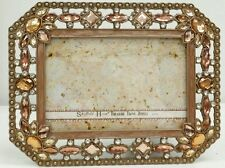 """NEW pink peach crystal  Jewels  4"""" x 6""""  Wedding Picture Frame solid brass NIB"""